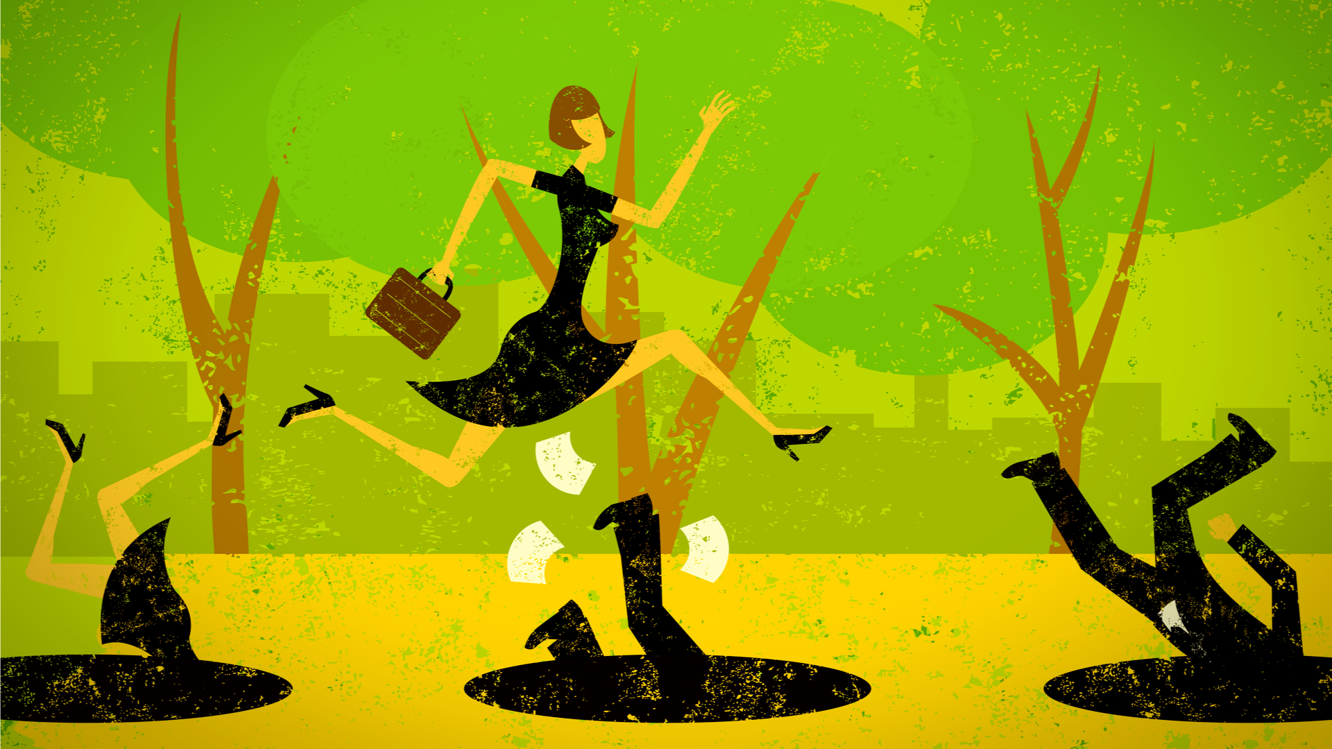 Graphical image of a business woman jumping over pitfalls in the ground